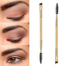 Makeup Double Eyebrow Brush + Eyebrow Comb Cosmetic Bamboo Handle Brushes Beauty