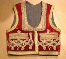"""Vintage Ottoman Turkish Waistcoat Velvet Vest in Red and Gold 19""""L X 17""""W"""