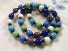 Vintage Harlequin Necklace Czech Glass Beads Blue Green White 20s Art Deco Style