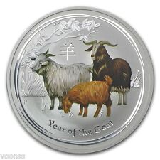 Perth Mint Australia 2015 Goat Colored 1 oz .999 Silver Coin