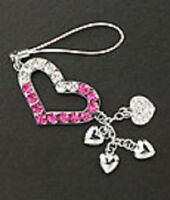 Cell Phone Charm Silver Plated Crystal Heart For Mobile Phone Free Shipping Pink