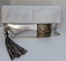 RAFE NY LEATHER CLUTCH SHOULDER BAG WHITE SILVER BROWN SNAKE PRINT NEW $348