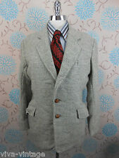 Vintage 1960s Men's Green Checked Harris Tweed Blue Label Jacket Blazer Small