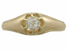 0.48ct Diamond & 18ct Yellow Gold Gent's Solitaire Ring- Contemporary & Antique