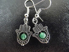 Tibetan Silver Fatima Hamsa Hand & Green Jade Bead Earrings