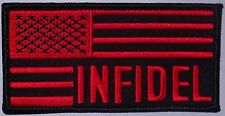 BLACK AND RED USA PATCH - INFIDEL PATCH * AMERICAN FLAG PATCH - MOTORCYCLE