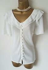 GOTHIC Cream Sheer Frilled Blouse 18 20 Vintage Victorian Romance Governess