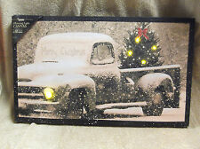 Pick Up Truck Snow Merry Christmas GLITTER Lighted Canvas Wall Decor Sign