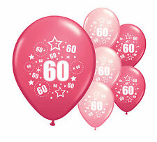 "8 x 60TH BIRTHDAY PINK MIX 12"" HELIUM OR AIRFILL BALLOONS (PA)"