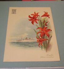 1952 Home Lines MS Italia Cruise Ship Dinner Menu Quebec Canadian Red Lily