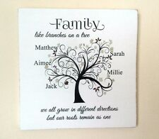 Family Tree Personalised Gift Shabby Vintage Chic Handmade Sign Present