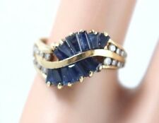 Fine Vintage 14k Yellow Gold Sapphire and Diamond Fan Ring