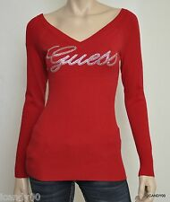 Nwt Guess SUZY Crystal Logo V-Neck Knit Sweater Top Pullover Rockgirl Red XS