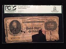 Fr1225H 1900 $10,000 Gold Certificate PCGS F12 Fine Ten Thousand Dollar Note