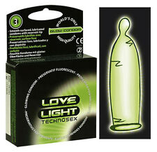 Preservativi fluorescenti lisci lubrificati Love Light Glow Condoms 3 pz