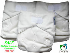 SALE: 3 Cloth Pocket Nappies each with a Bamboo/Microfibre Insert UK SELLER
