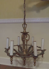 1930's ART DECO RIDDLE CEILING LIGHT FIXTURE CHANDELIER GOLD OVER METAL
