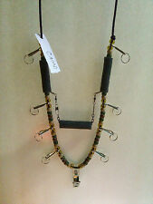 Pro Fly Fishing Lanyard 8 Heavy Duty Hooks And Tippet Line Holder! Dark Camo