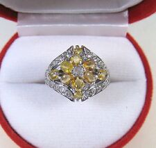 2.36 CTW YELLOW SAPPHIRE & WHITE TOPAZ RING sz 7.75 - WHITE GOLD/STERLING SILVER