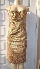 TRACY REESE GOLD SILK METALLIC PYTHON PRINT BOW DETAIL FIT COCKTAIL DRESS Sz 8