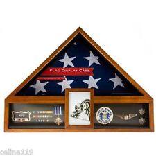 AMERICAN FLAG DISPLAY CASE OAK VETERAN MILITARY DISPLAY BOX FUNERAL BURIAL MEDAL