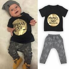 Newborn Toddler Kids Baby Mama's Boy Clothes T-shirt Top+Pants Outfit Set 18-24M
