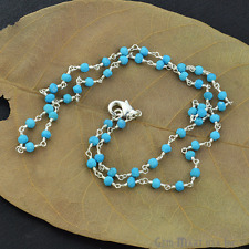 """Natural Turquoise Gemstone Beads Necklace Chain Jewelry 18"""" Sterling Silver"""