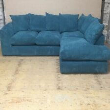 New Zina Teal Jumbo Cord Fabric Corner Sofa / Suite,
