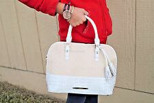 BRAHMIN Vivian in Macaron Raffia White Croc Embossed Leather Dome Satchel NWT
