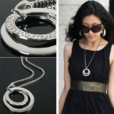 Fashion Women Crystal Rhinestone Silver Long Chain Pendant Necklace Jewelry Gift
