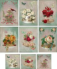 Vintage inspired Tea Cup Tea Pot note cards ATC altered art set  6 & mini cards