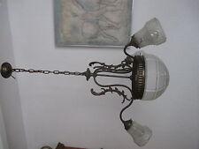 Deckenlampe, 4 flammig, Mittelkuppel,Messing,patiniert