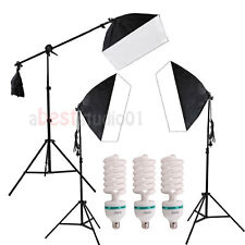3 Photograpy Softbox Boom Stand Photo Studio Video Continuous Lighting Photo Kit
