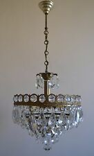 Vintage / Antique French Basket Style Brass Crystals Chandelier Ceiling Lamp