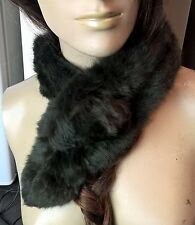 dark brown genuine real rabbit fur pom pom scarf neck warmer collar shawl stole