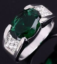 Jewelry Size 10 Gorgeous Emerald 18K Gold Filled Engagement Ring For Men Band