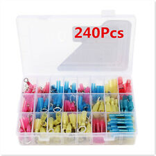 240Pcs Heat Shrink Solder Sleeves Electrical Wire Butt Terminals Connectors+ Box