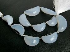113ctw Natural Blue Chalcedony Smooth Polish Crescent Moon Gemstone Beads