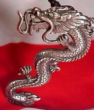 Necklace Pendant Jewelry 3 Inch Large Dragon Pewter Silver Color #101