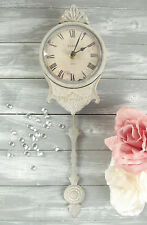 French Vintage Pale Grey Pendulum Wall Clock Shabby & Chic Paris Antique 38cm