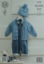 KNITTING PATTERN Baby Long Sleeve V-neck Cable Cardigan &Bobble Hat DK KC 4198