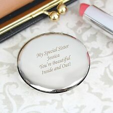 Personalised Silver Finish Round Compact Mirror -Engraved Free - Christmas, Her