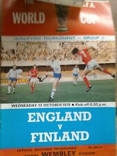 Matchday Programme England v Finland World Cup Qualifier 13/10/1976.