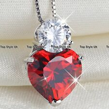 925 Sterling Silver Solitaire CZ Red Heart Pendant Necklace Present Gift for her