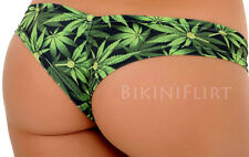 SEXY SKIMPY CHEEKY MARIJUANA WEED LOW RISE MICRO BRAZILIAN BIKINI BOTTOM! NEW!!!