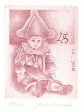 Pierrot Exlibris Juris Mommen / DS Boy Etching c3 Radierung signed 1/100 1988
