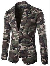 Men's Slim Fit One Button Lapel Camouflage Suit Casual Coat Blazer Jackets 2016