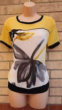 NEXT YELLOW BLACK WHITE FLORAL BAGGY SUMMER CAMI TUNIC BLOUSE TOP VEST 8 S