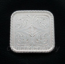 WESTERN SADDLE BRIGHT SILVER ROPE EDGE SQUARE CONCHO 1 inch
