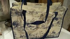 Colonial Williamsburg Tote Shopping Bag Blue & Ivory Toile Reusable Town Scene